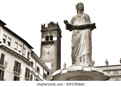 """The marble statue called """"Madonna Verona"""" in the main square in the center of Verona, Italy; antique style photo."""