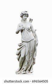 Marble statue of cupid with arrows. Sculpture of girl.Isolated background