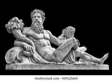 Marble statue of greek god Zeus with cornucopia in his hands isolated on black background