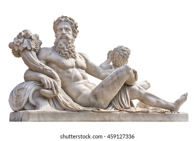 Marble statue of greek god Zeus with cornucopia in his hands isolated on white background