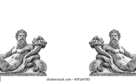 Marble statue of greek god Zeus with cornucopia in his hands isolated on white background with place for your text