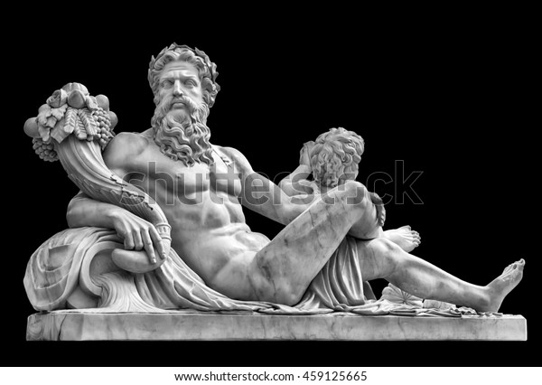 Estatua de mármol del dios griego Zeus con cornucopia en sus manos aislada en fondo negro