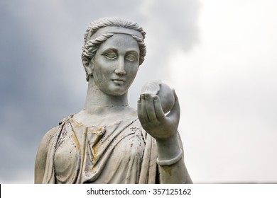 Marble statue of the Greek goddess Hera or the Roman goddess Juno, holding an apple of discord in the park of the Palace and park complex Estate of G. Galagan. Sokyryntsi village, Ukraine