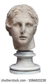 Marble statue - Head of Alexander the Great isolated on the white background. Mass product souvenir