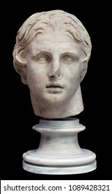 Marble statue - Head of Alexander the Great isolated on black background