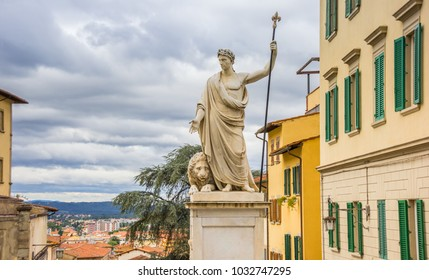 Marble statue in the historic center of Arezzo, Italy