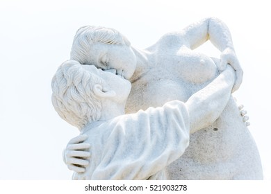 Marble statue of man and woman on white background