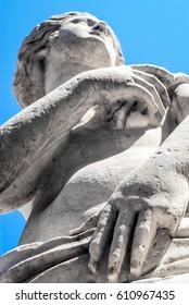 Marble statue in Piazza Pretoria, also known as the Square of Shame, Piazza della vergogna in Palermo, Sicily