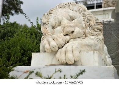 Marble statue of a sleeping lion. Vorontsov Palace. Crimea.