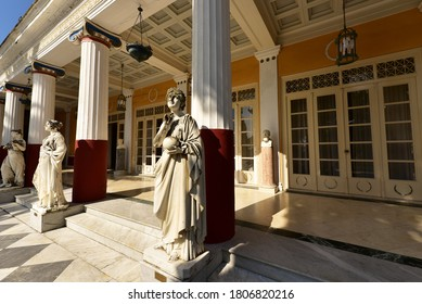 Marble statues in the courtyard of the Achilleion palace. Corfu 2020