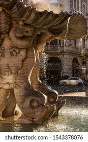 Marble statues of Rome. Triton Fountain in the Piazza Barberini