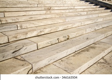The marble steps in front of the Rhode Island State House, in Providence, RI.
