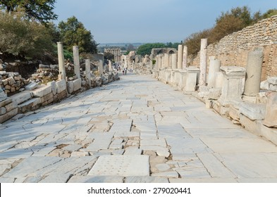 Marble street in ancient Ephesus city, Selcuk, Turkey