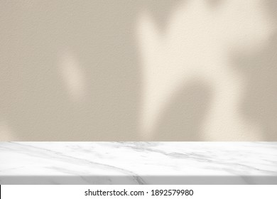 Marble Table with Bokeh Light on Concrete Wall Texture Background in Vintage White Color Tone, Suitable for Product Presentation Backdrop, Display, and Mock up.