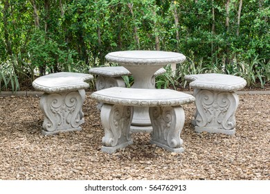 Marble table and chairs in garden