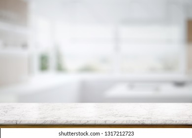 Marble table top counter in kitchem room background