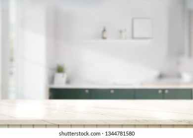 Marble table top in kitchen room