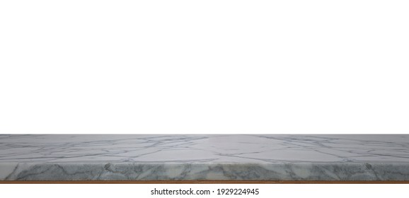 Marble table top or stone counter  isolated on white background,for montage product display or design key visual layout.with clipping path