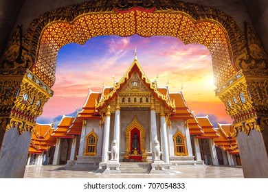 Marble Temple in Bangkok, Thailand.