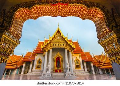 The Marble Temple , Wat Benchamabophit Dusitvanaram in Bangkok, Thailand. Unseen Thailand.
