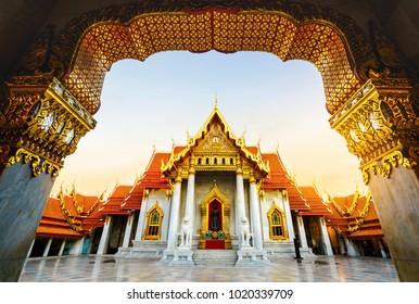The Marble Temple or Wat Benchamabopitr Dusitvanaram in morning time sunbeam on top of church Bangkok Thailand