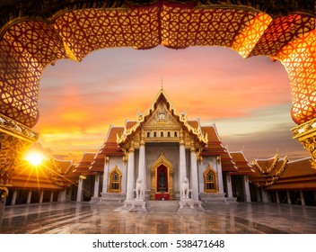The Marble Temple, Wat Benchamabopitr Dusitvanaram Bangkok THAILAND, Asia travel location, view from out side of temple