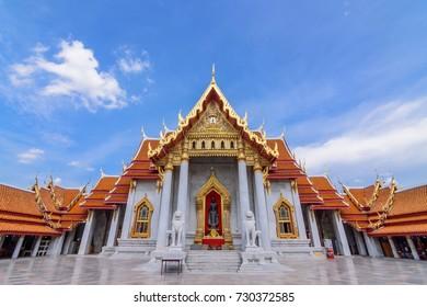 The Marble Temple or Wat Benchamabopitr Dusitvanaram in Bangkok Thailand.