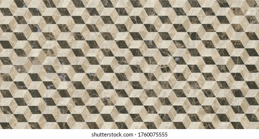 Marble texture, seamless pattern design with geometric lines and cubes, black, brown and grey marbling surface, modern luxurious background.