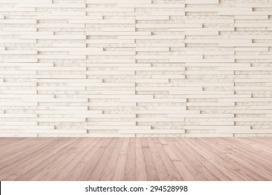Marble tile wall pattern background in light cream beige color with wooden floor in red brown