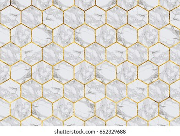 Marble tiles with gold grout