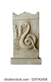marble votive relief of Aristomenes dedicated to Zeus Meilichios
