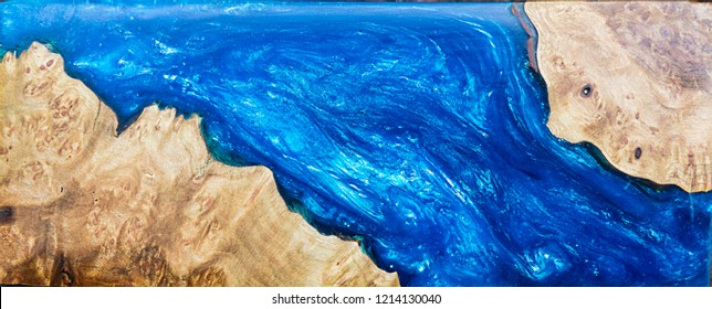 Marble wooden table with epoxy resin blue, Top view of wood