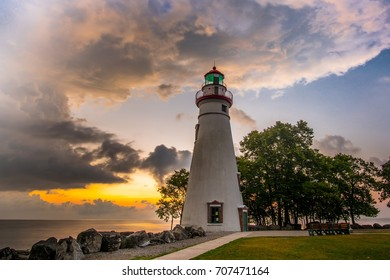 Marblehead Lighthouse at Dawn with Beautiful Sunrise