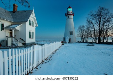 Marblehead Lighthouse Decorated for Christmas and New Years