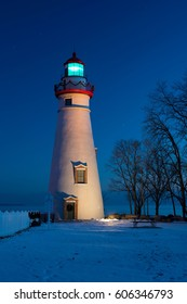 Marblehead Lighthouse in Ohio Decorated at Christmas with Light On