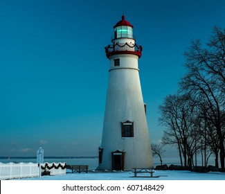 Marblehead Lighthouse in Ohio decorated for the holidays in Winter