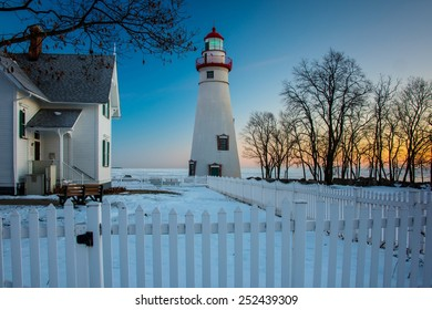 Marblehead Lighthouse at Sunrise in Winter