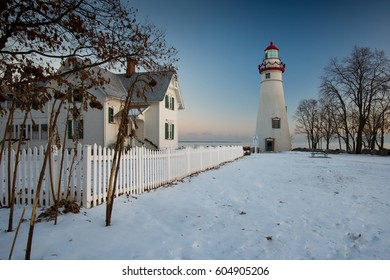 Marblehead Lighthouse in Winter at Sunrise