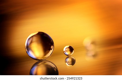 marbles on the golden background