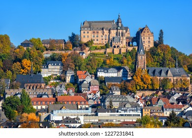 Marburg an der Lahn historical Old Town with castle Landgrafenschloss, St. Elizabeth church and medieval colorful half-timbered houses, Germany