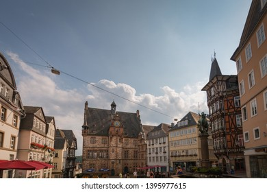 Marburg, Germany - August 27, 2017: Cityscape of the German city of Marburg with it's historical townhall and market place