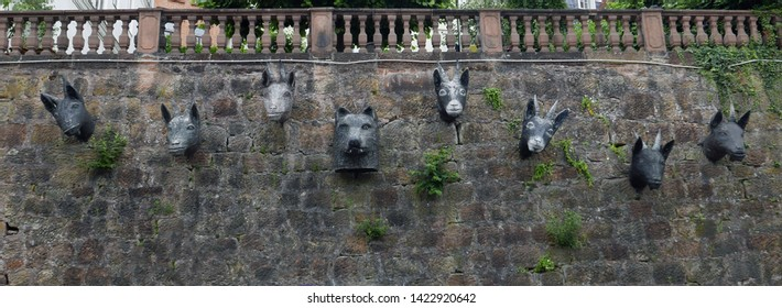 "Marburg, Hessen/Germany - June 13, 2018: Sculpture referring to the Grimm brothers' fairytale ""The Wolf and the Seven Little Goats"""