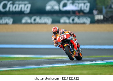 Marc Marquez no.93 of Spain and Repsol Honda Team  in qualifying during The PTT Thailand Grand Prix - MotoGP at Chang International Circuit on October 6, 2018 in Burirum ,Thailand