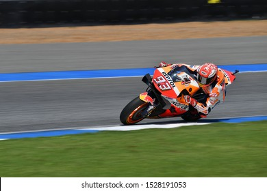 Marc Marquez (no.93) of Spain and Repsol Honda Team in action during of The PTT Thailand Grand Prix- Warm Up at Chang International Circuit on October  06,2019, in Burirum Thailand