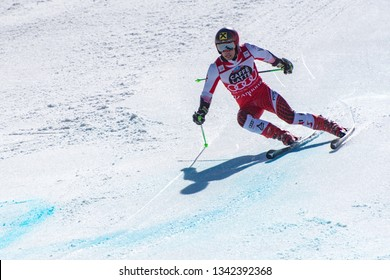 MARCEL HIRSCHER AUT  takes part in the RACE run for the men´s Slalom race of the FIS Alpine Ski World Cup Finals at Soldeu-El Tarter in Andorra, on March 17, 2019.