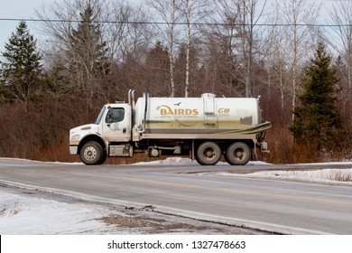 March 02, 2019: Baird's septic truck. Baird's Septic Tank Pumping Ltd. are providers of septic tank pumping services and also provide portable restrooms for rental.