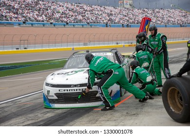 March 02, 2019 - Las Vegas, Nevada, USA: Justin Haley (11) races through a pit stop at the Boyd Gaming 300 at Las Vegas Motor Speedway in Las Vegas, Nevada.
