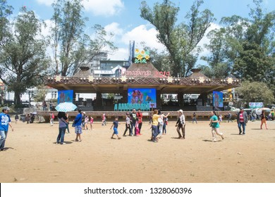 March 03, 2019 - Baguio City, Philippines : People at the Melvin Jones Grandstand after the float parade during the Panagbenga 2019. Floats are stationed at the Melvin jones Grandstand for viewing
