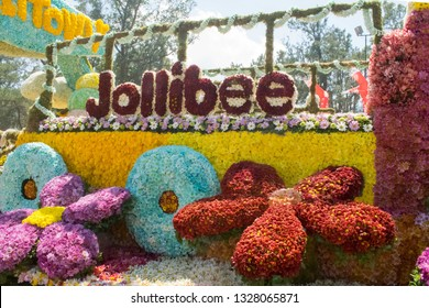 March 03, 2019-Baguio City Philippines : Jollibee, a well known fast food chain in the Philippines participated on the Panagbenga flower festival float parade in Baguio City Philippines.