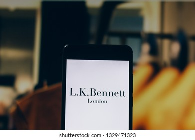 March 04, 2019, Brazil. LKBennett logo is displayed on the screen of the mobile device. LK Bennett is an international company and luxury fashion brand, based in London, England.